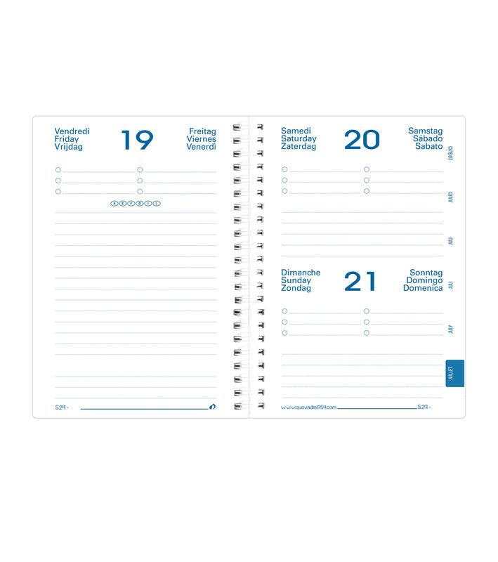 QUO VADIS Agenda scolaire 1 jour par page Eurotextagenda S Daisy 12x17cm modèles aléatoires