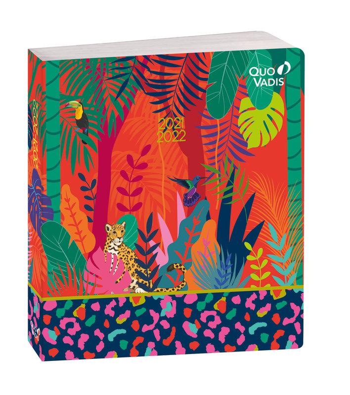 QUO VADIS Agenda scolaire 1 jour par page Plan Day Jungle 16x16cm panthère