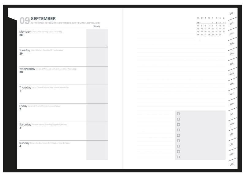 QUO VADIS Agenda scolaire semainier  et une page de notes Plan Note ML Dr Paper 15x21cm Londres