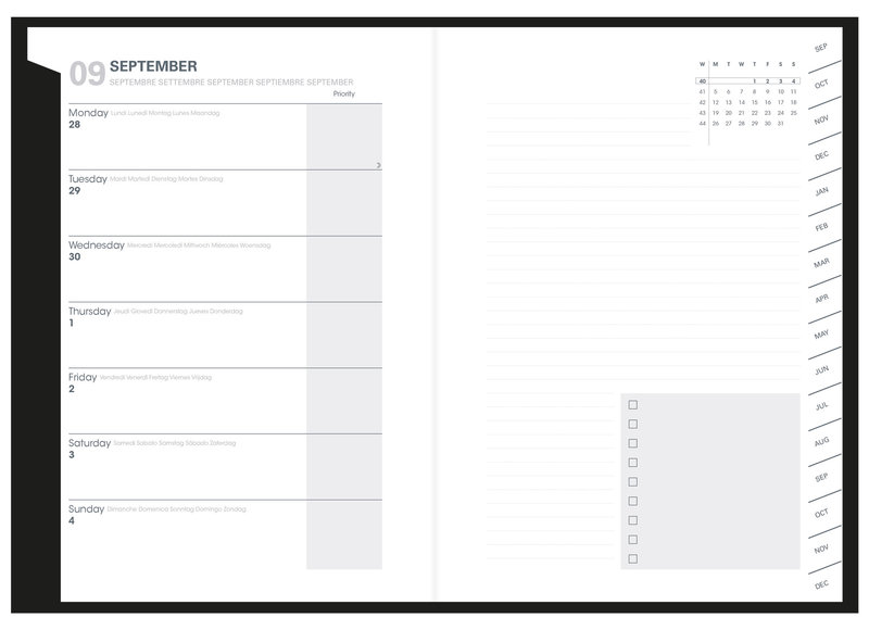 QUO VADIS Agenda scolaire semainier  et une page de notes Plan Note ML Dr Paper 15x21cm Paris