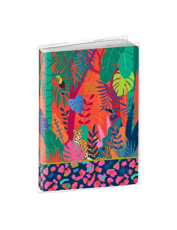 QUO VADIS Agenda scolaire 1 jour par page Eurotextagenda Jungle12x17cm feuilles bleues