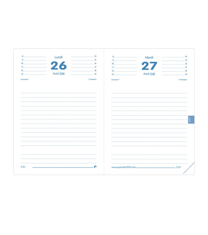 QUO VADIS Agenda scolaire 1 jour par page Textagenda Ben 12x17cm modèles aléatoires