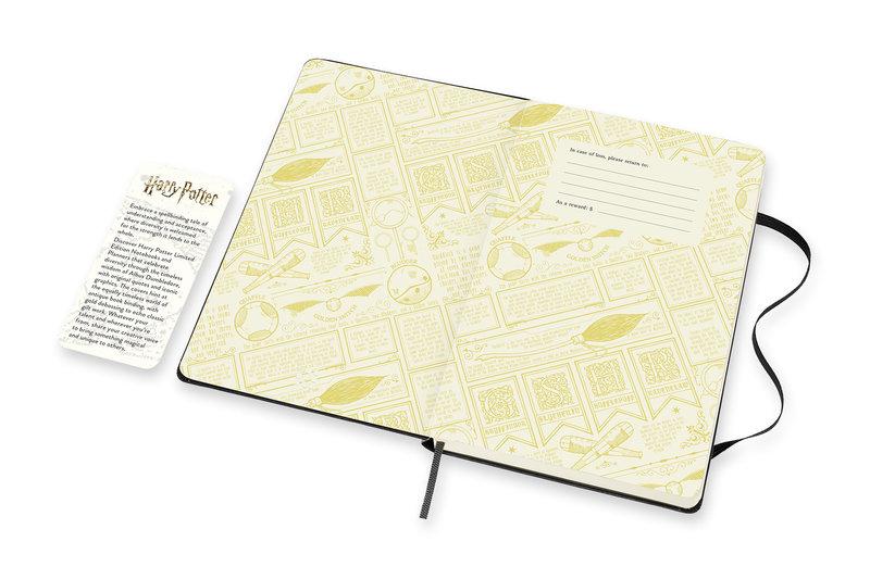 MOLESKINE Agenda 18 mois Semainier Horizontal + Notes Grand Format Couverture Rigide HARRY POTTER Noir
