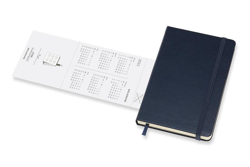 MOLESKINE Agenda 18 Mois Semainier Horizontal + Notes Format de Poche Couverture Rigide - BLEU SAPHIR