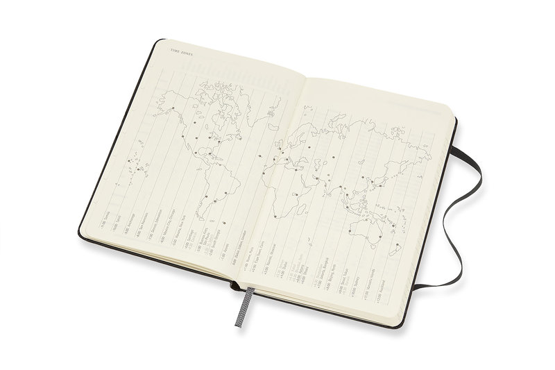 MOLESKINE Agenda 18 Mois Semainier Horizontal + Notes Format de Poche Couverture Rigide - NOIR