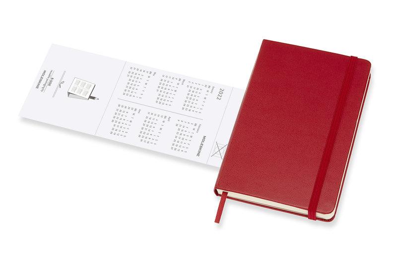 MOLESKINE Agenda 18 Mois Semainier Horizontal + Notes Format de Poche Couverture Rigide - ROUGE ECARLATE