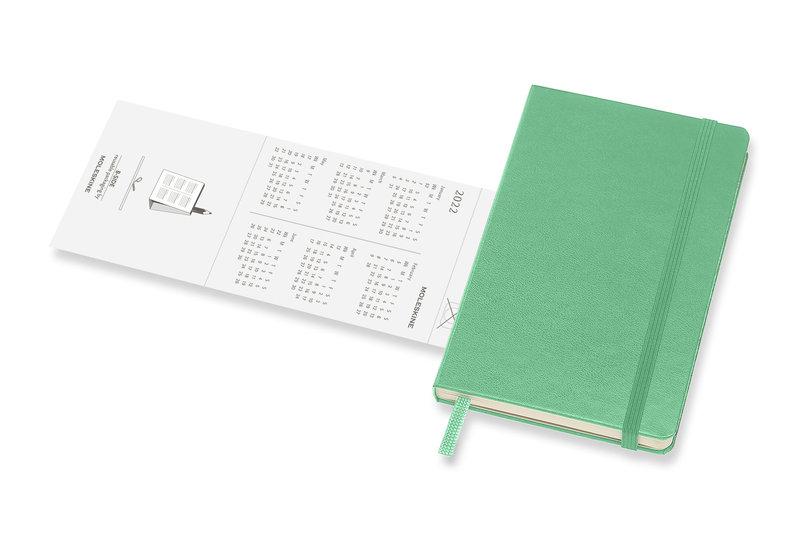MOLESKINE Agenda 18 Mois Semainier Horizontal + Notes Format de Poche Couverture Rigide - VERT CLAIR