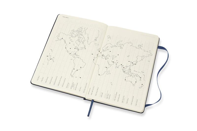 MOLESKINE Agenda 18 Mois Semainier Horizontal + Notes  Grand Format Couverture Rigide - BLEU SAPHIR