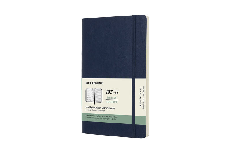 MOLESKINE Agenda 18 Mois Semainier Horizontal + Notes  Grand Format Couverture Souple - BLEU SAPHIR