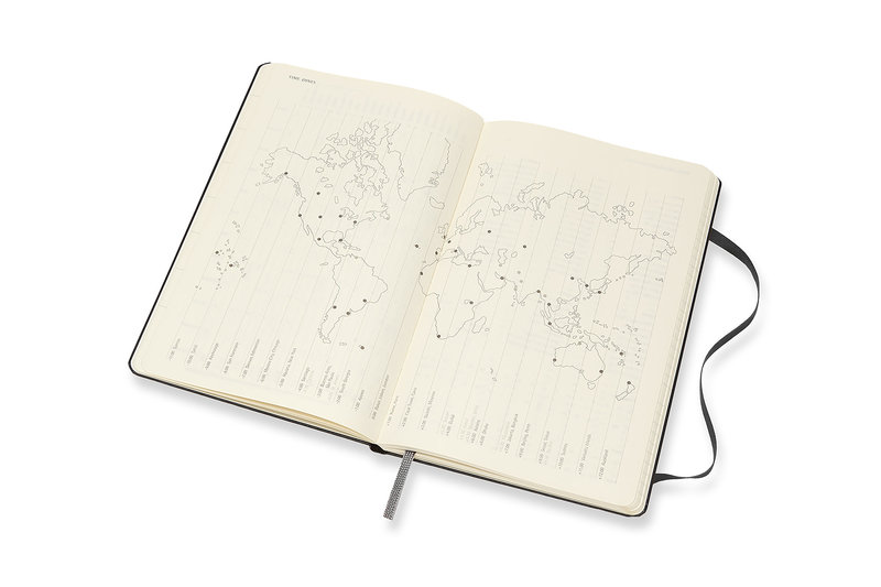 MOLESKINE Agenda 18 Mois Semainier Horizontal + Notes  Grand Format Couverture Rigide - NOIR