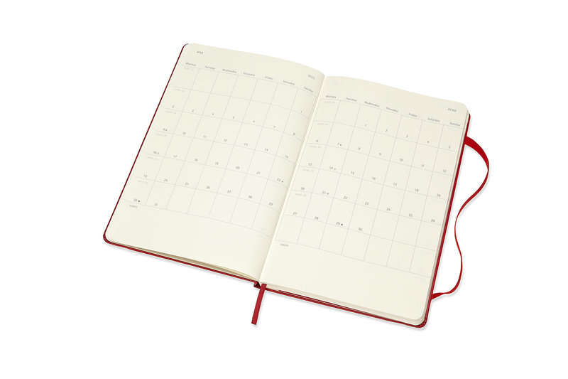 MOLESKINE Agenda 18 Mois Semainier Horizontal + Notes  Grand Format Couverture Rigide - ROUGE ECARLATE