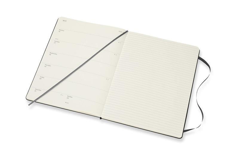 MOLESKINE Agenda 18 Mois Semainier Horizontal + Notes Très Grand Format Couverture Rigide - NOIR
