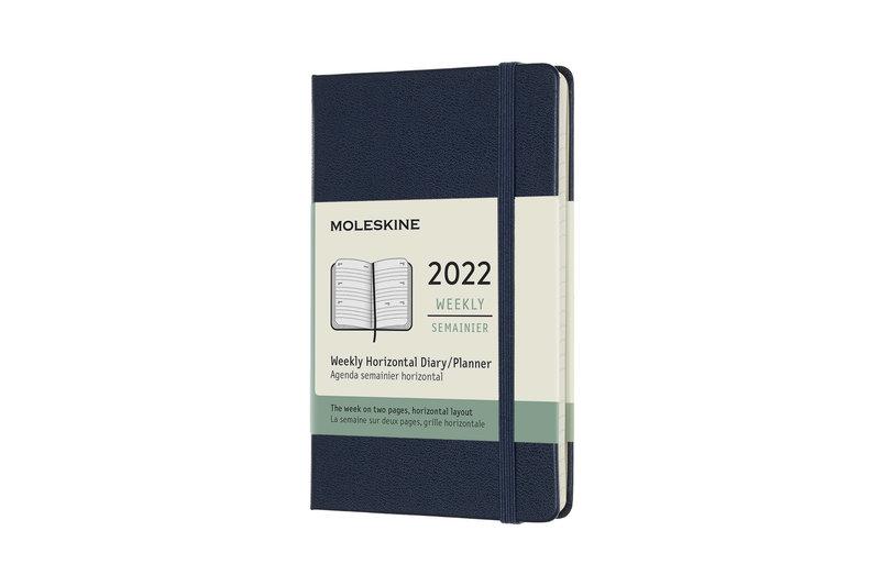 MOLESKINE Agenda Civil 12 Mois Semainier Horizontal Format de Poche Couverture Rigide - BLEU SAPHIR