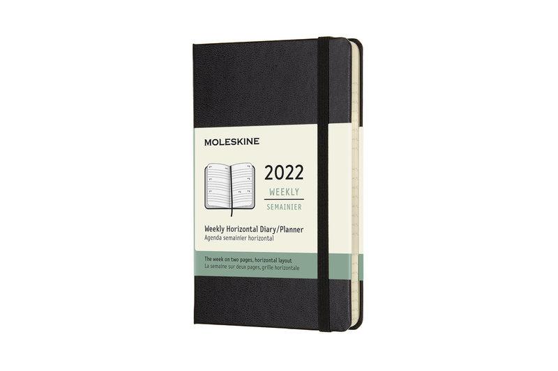 MOLESKINE Agenda Civil 12 Mois Semainier Horizontal Format de Poche Couverture Rigide - NOIR