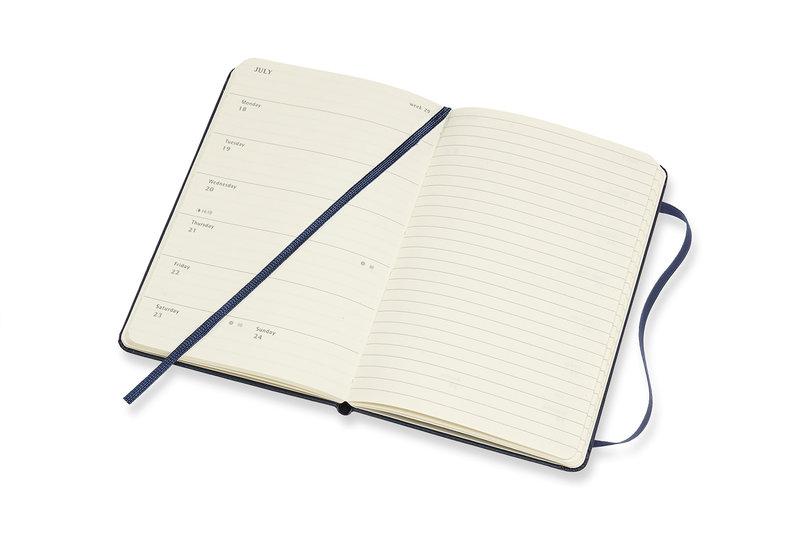 MOLESKINE Agenda Civil 12 Mois Semainier Horizontal + Notes Format de Poche Couverture Rigide - BLEU SAPHIR