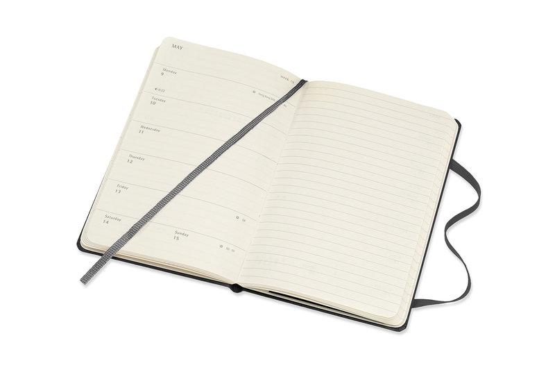 MOLESKINE Agenda Civil 12 Mois Semainier Horizontal + Notes Format de Poche Couverture Rigide - NOIR