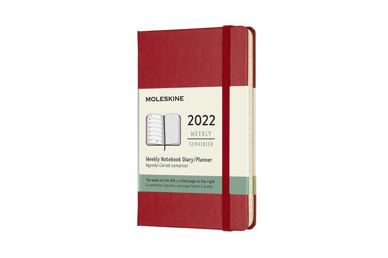 MOLESKINE Agenda Civil 12 Mois Semainier Horizontal + Notes Format de Poche Couverture Rigide - ROUGE ECARLATE