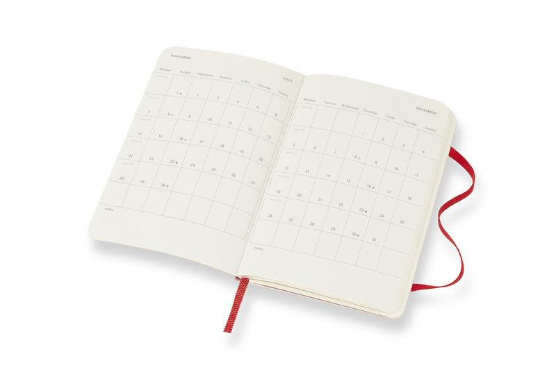 MOLESKINE Agenda Civil 12 Mois Semainier Horizontal + Notes Format de Poche Couverture Souple - ROUGE ECARLATE
