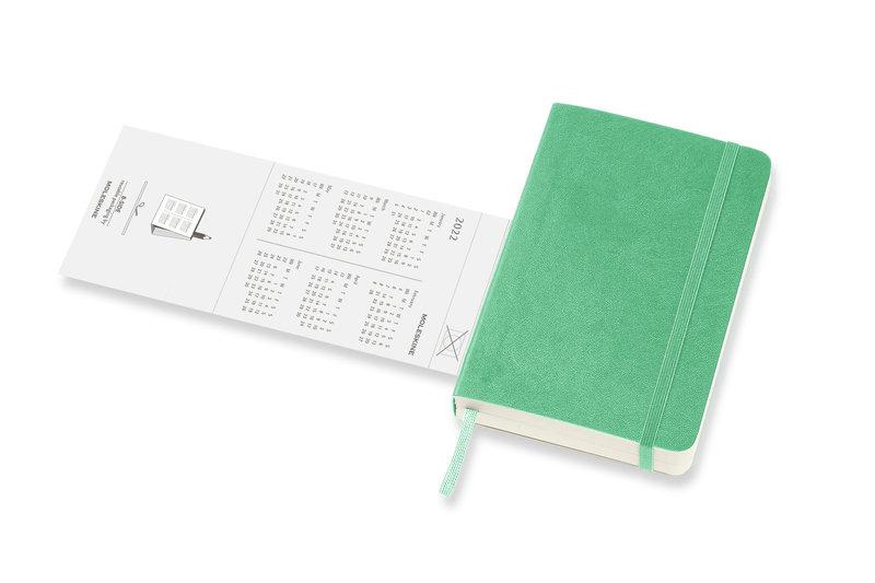 MOLESKINE Agenda Civil 12 Mois Semainier Horizontal + Notes Format de Poche Couverture Souple - VERT CLAIR
