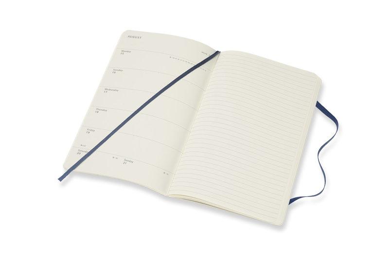 MOLESKINE Agenda Civil 12 Mois Semainier Horizontal + Notes Grand Format Couverture Souple - BLEU SAPHIR