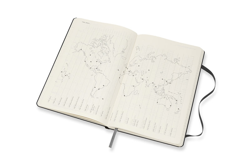 MOLESKINE Agenda Civil 12 Mois Semainier Horizontal + Notes Grand Format Couverture Rigide - NOIR