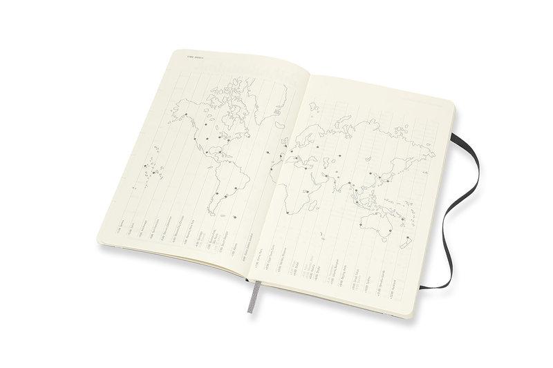 MOLESKINE Agenda Civil 12 Mois Semainier Horizontal + Notes Grand Format Couverture Souple - NOIR