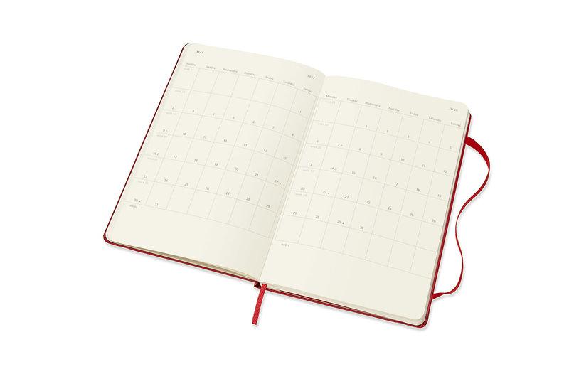 MOLESKINE Agenda Civil 12 Mois Semainier Horizontal + Notes Grand Format Couverture Rigide - ROUGE ECARLATE