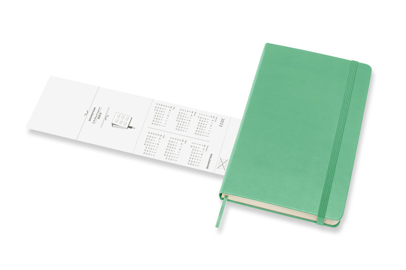 MOLESKINE Agenda Civil 12 Mois Semainier Horizontal + Notes Grand Format Couverture Rigide - VERT CLAIR