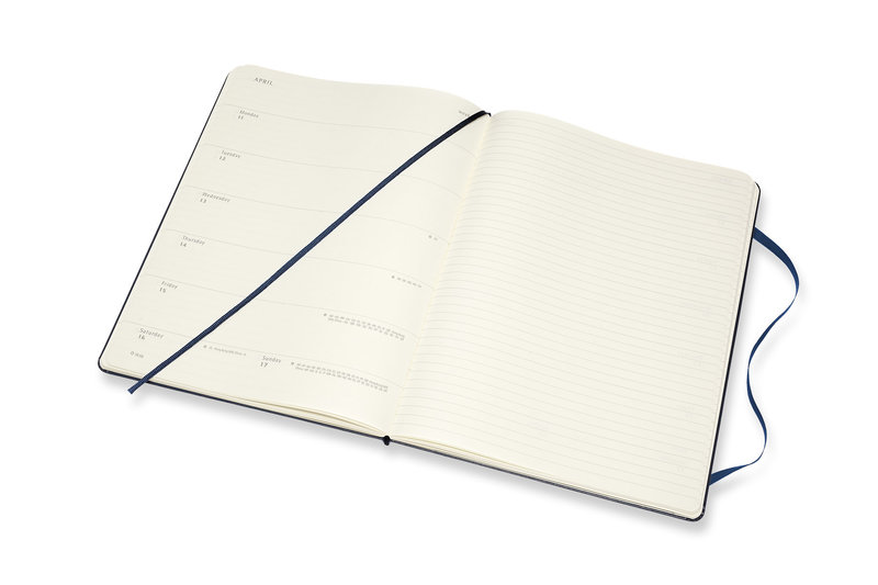 MOLESKINE Agenda Civil 12 Mois Semainier Horizontal + Notes Très Grand Format Couverture Rigide - BLEU SAPHIR