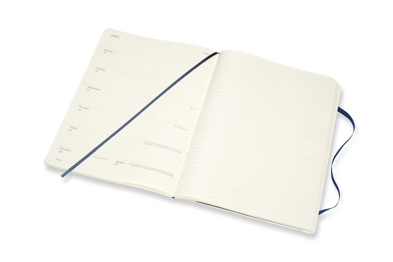 MOLESKINE Agenda Civil 12 Mois Semainier Horizontal + Notes Très Grand Format Couverture Souple- BLEU SAPHIR