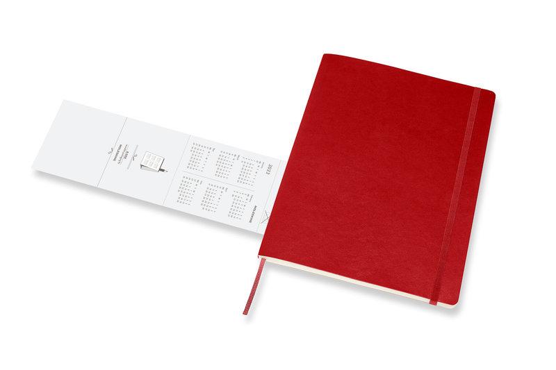 MOLESKINE Agenda Civil 12 Mois Semainier Horizontal + Notes Très Grand Format Couverture Souple - ROUGE ECARLATE