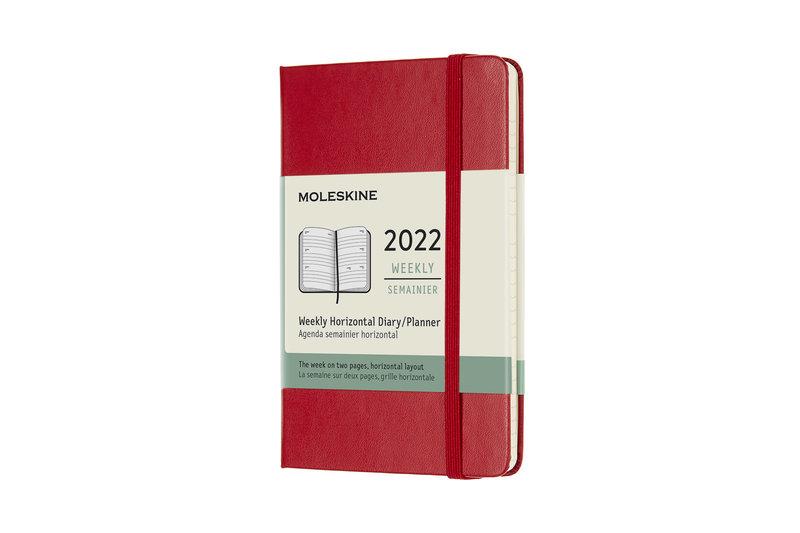 MOLESKINE Agenda Civil 12 Mois Semainier Horizontal Format de Poche Couverture Rigide - ROUGE ECARLATE