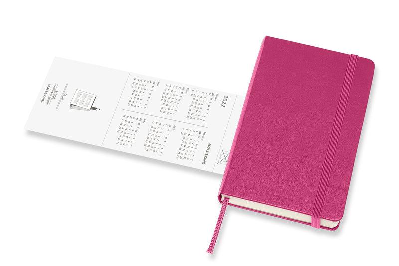 MOLESKINE Agenda Civil 12 Mois Semainier Horizontal + Notes Format de Poche Couverture Rigide - ROSE BONGAINVILLIER