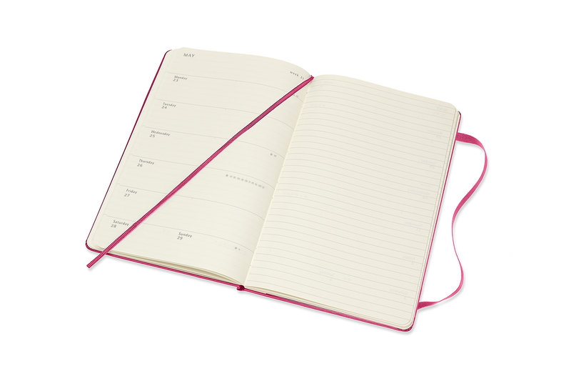 MOLESKINE Agenda 18 Mois Semainier Horizontal + Notes  Grand Format Couverture Rigide -  ROSE BONGAINVILLIER