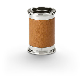 FABER CASTELL Pot à crayons, finition cuir grainé, cognac
