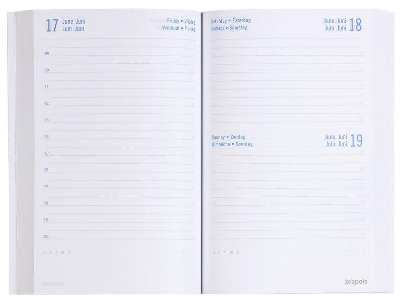 BREPOLS Agenda scolaire 1 jour par page Tessuto 11.5x16.9cm couleurs aléatoires