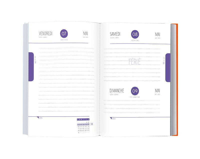 OBERTHUR Agenda scolaire 1 jour par page Deeluxe 12,5x17,5cm tête de mort
