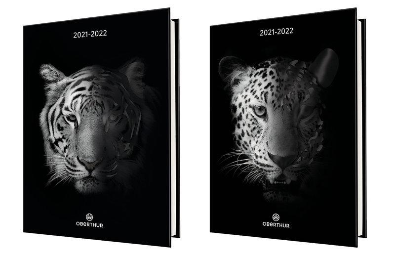 OBERTHUR Agenda scolaire 1 jour par page 2D Tigre/Guépard 12,5x17,5cm modèles aléatoires