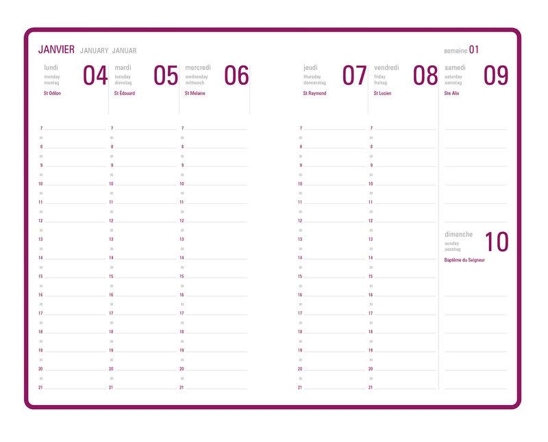 OBERTHUR Agenda scolaire semainier 15 bureau Sakura 10x15cm modèles aléatoires