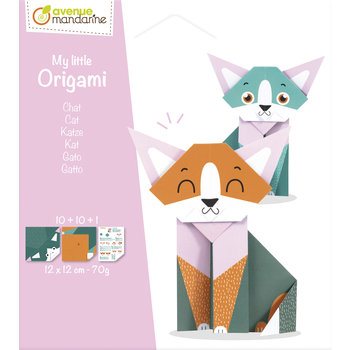 AVENUE MANDARINE My little Origami. Chat. 12 x 12 cm. 20F. 70g