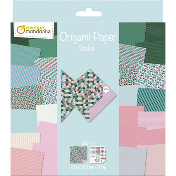 AVENUE MANDARINE Origami Paper. Scales. 20 x 20 cm. 60F. 70g