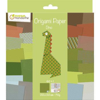 AVENUE MANDARINE Origami Paper. Dino. 20 x 20 cm. 60F. 70g
