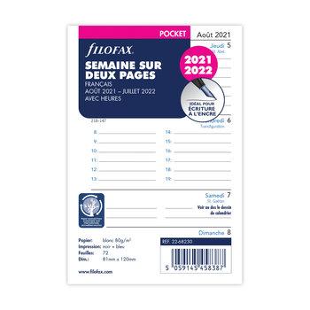 FILOFAX Recharge Pocket 2021/2022 semainier horizontal avec heures 12x8,1cm