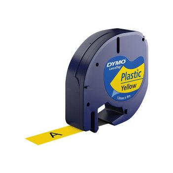 DYMO RUBAN LETRATAG Plastique 12mm x 4m - Noir sur Jaune