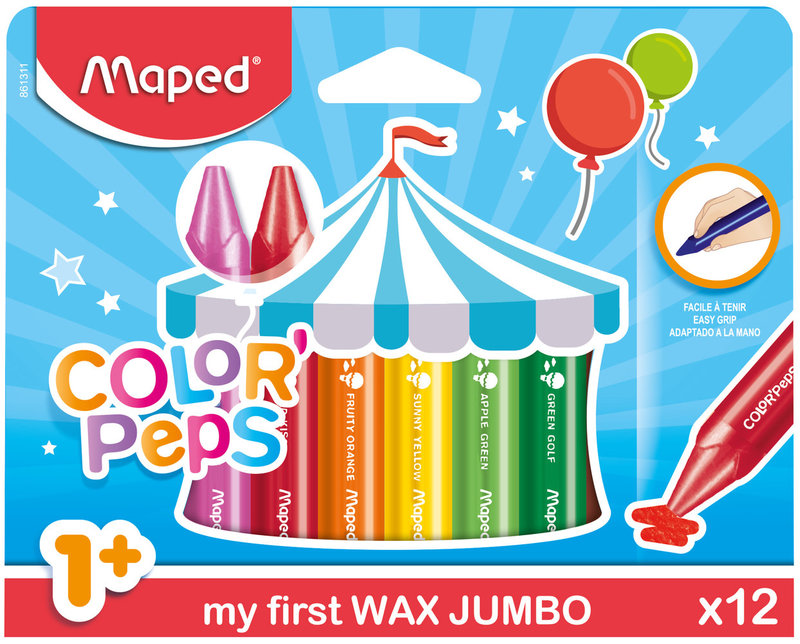 MAPED 12 crayons cire WAX EARLY AGE en pochette carton