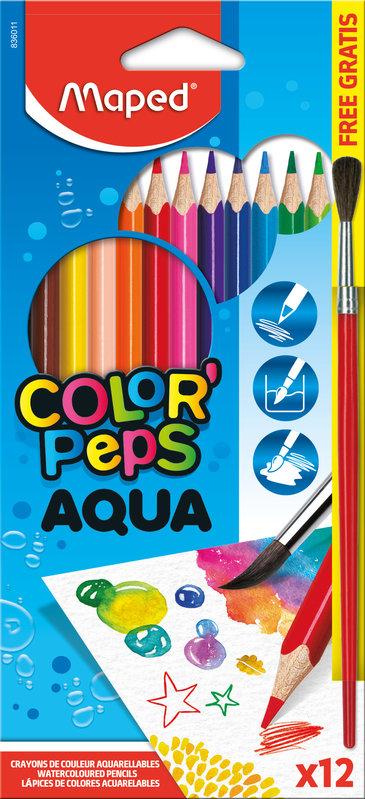 MAPED 12 crayons de couleur AQUARELLABLES COLOR'PEPS en pochette carton + 1 pinceau offert
