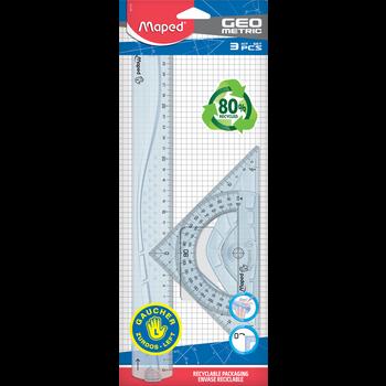 MAPED Kit de traçage 3 pièces GEOMETRIC. spécial GAUCHERS. en plastique recyclé