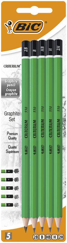 BIC Criterium 550 Crayons à Papier Blister de 5 (2B-B-HB-H-2H)