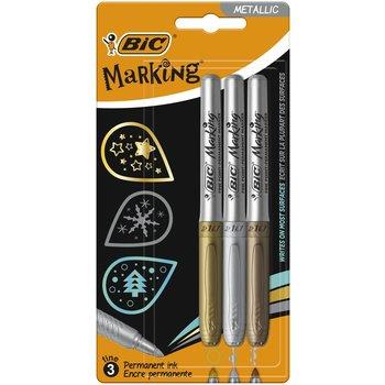 BIC Marking Marqueurs Permanents à Pointe Conique Moyenne - Couleurs Métalliques Assorties, Blister de 3