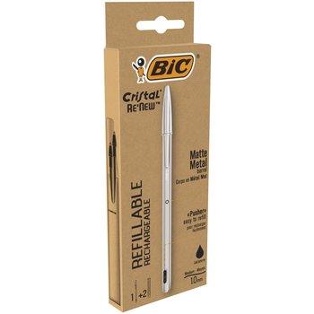 BIC Stylo rechargeable Cristal Re-New, en métal Argent à capuchon. Pointe moyenne+2 recharges encre Noire